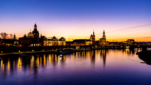 dresden by sunset, time lapse - dresden germany stock videos & royalty-free footage