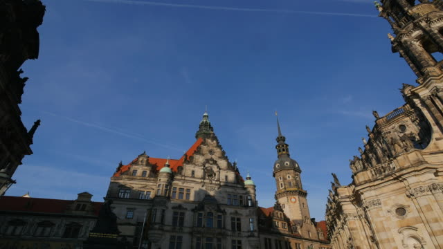 dresden cathedral and dresden castle, saxony, sachsen germany - sachsen stock-videos und b-roll-filmmaterial