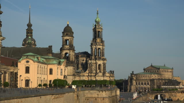 dresden cathedral and semper opera house dresden saxony, sachsen germany - sachsen stock-videos und b-roll-filmmaterial