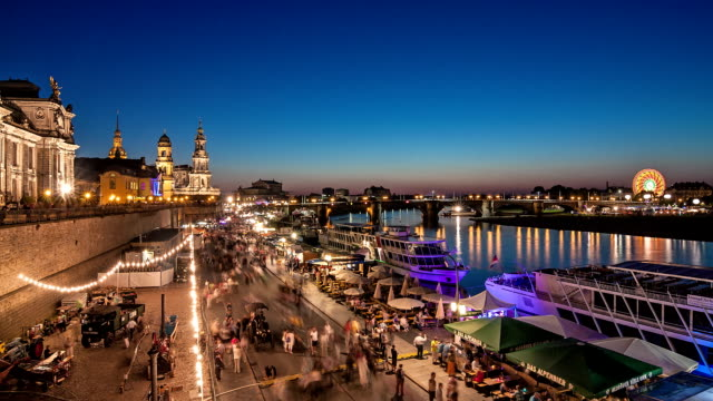 dresden city festival time lapse at night - hofkirche stock videos & royalty-free footage