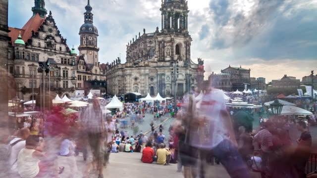 dresden city festival time lapse - hofkirche stock videos & royalty-free footage