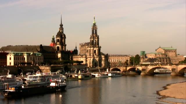 dresden elbe promenade - hofkirche stock videos & royalty-free footage