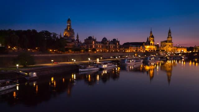 Dresden historic skyline and Elbe river at night, RL pan