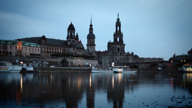 dresden in the night - abenddämmerung stock videos & royalty-free footage