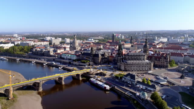 dresden on sunny autumn day - dresden frauenkirche stock videos & royalty-free footage