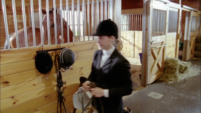 dressage rider coming to get horse in stable / opening stall door and preparing to put bridle on horse - bridle stock videos & royalty-free footage
