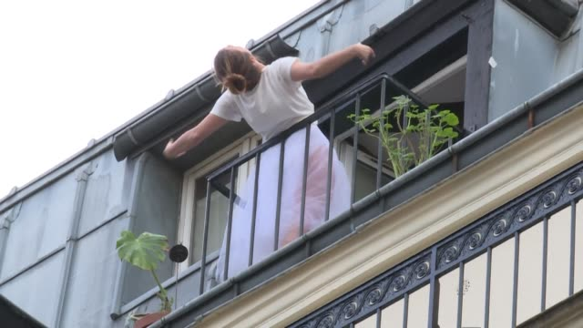 dressed in a tutu and ballet shoes, jeanne morel has been dancing on her balcony in paris - tutu stock videos & royalty-free footage