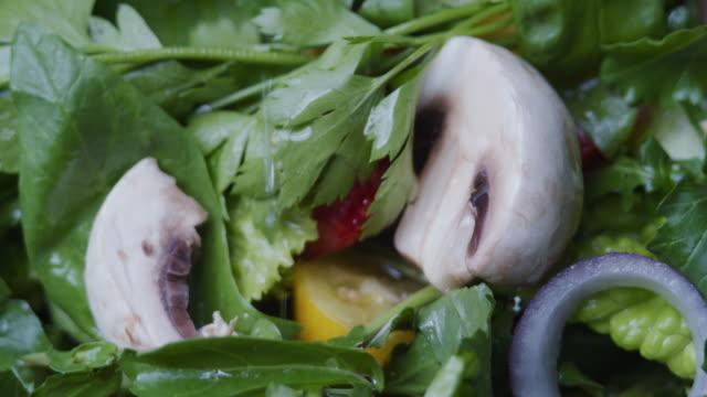 新鮮な野菜とマッシュルームのサラダをドレッシング。極端なクローズアップ - サラダドレッシング点の映像素材/bロール