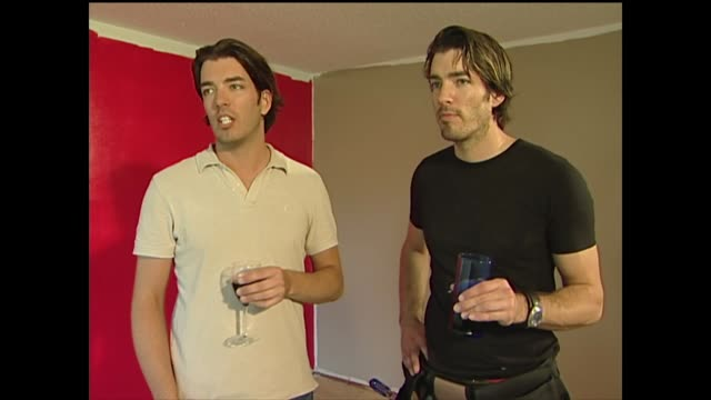 drew and jonathan scott talk about the types of jobs they do - インテリアデザイナー点の映像素材/bロール