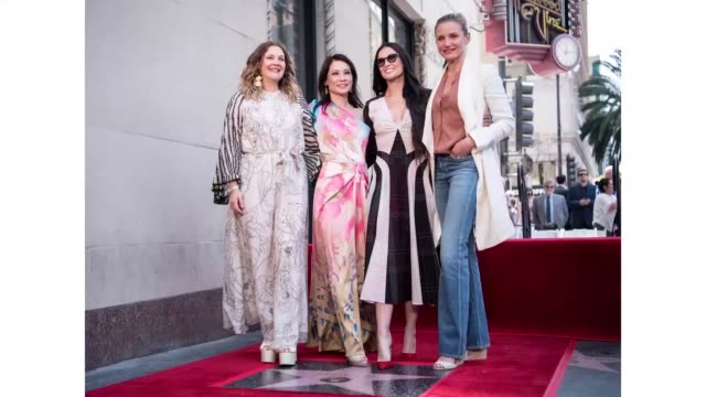 drew barrymore, lucy liu, demi moore, and cameron diaz at lucy liu's hollywood walk of fame star ceremony on may 01, 2019 in hollywood, california. - lucy liu stock videos & royalty-free footage