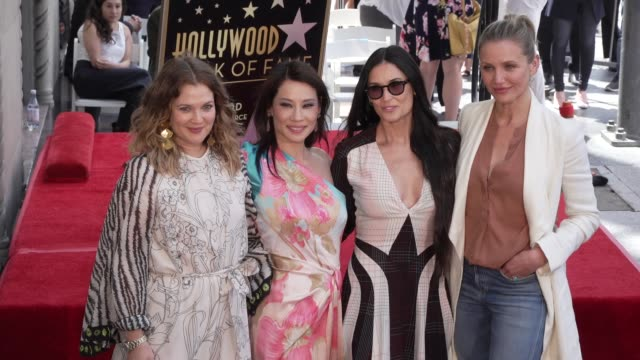drew barrymore, lucy liu, demi moore, cameron diaz at the lucy liu honored with a star on the hollywood walk of fame on may 01, 2019 in hollywood,... - fame stock videos & royalty-free footage