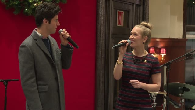 performance – drew gehling and stephanie torns of the musical waitress perform at brooks brothers celebrates the holidays with st jude children's... - st. jude children's research hospital stock videos and b-roll footage