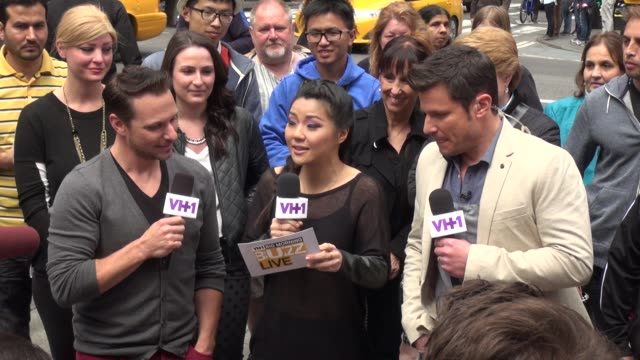 drew nick lachey answering fans questions in times square in celebrity sightings in new york - nick lachey stock videos & royalty-free footage