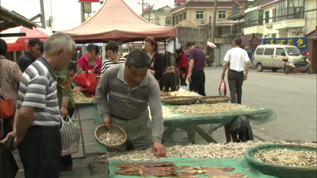 dried fish sold at a village market near shanghai - chinese food stock videos & royalty-free footage
