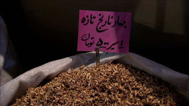cu td tu dried food in sack on bazaar, isfahan, iran - dried food stock videos & royalty-free footage