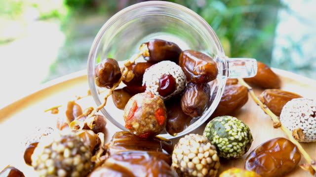 dried fruit , date fruit , date ball with cereal - moroccan culture stock videos & royalty-free footage