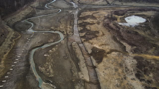 dried lake from aerial view - curve stock videos & royalty-free footage