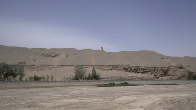 dried riverbed in gobi desert