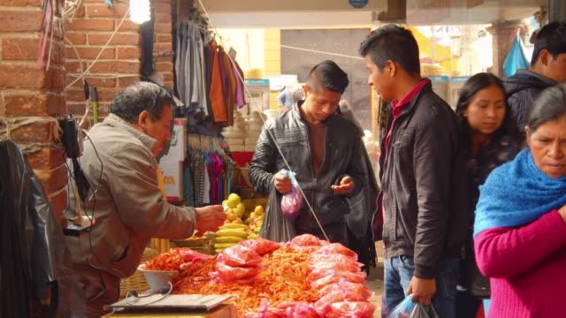 dried shrimp seller in a street market in san cristobal de las casas, mexico - テナガエビ点の映像素材/bロール