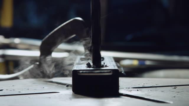 Drill Press in Metal Workshop