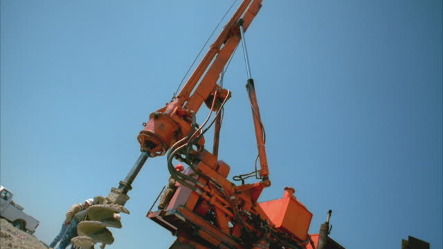 ms cs slo mo drill truck at construction site / cedar park, texas, usa  - cedar park texas stock videos & royalty-free footage