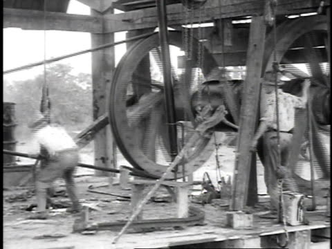 1923 reenactment drillers operating early well digging machine / titusville, pennsylvania, united states - oil industry stock videos & royalty-free footage