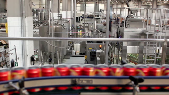 drink cans on the production lines - aluminium stock videos & royalty-free footage