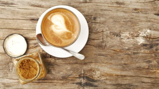 drink coffee latte in garden view