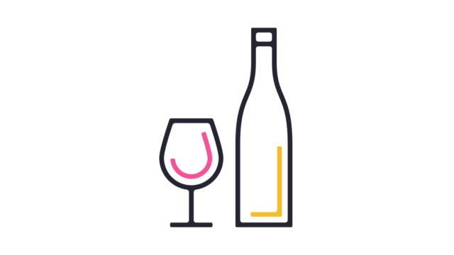 vídeos de stock e filmes b-roll de drink icon animation - old illustration
