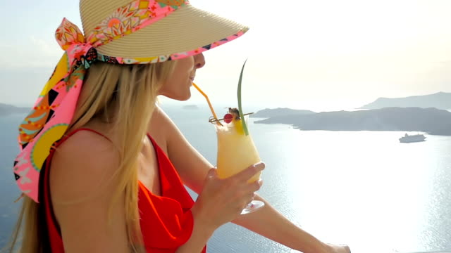 drinking cocktail & volcano view - tourist resort stock videos and b-roll footage