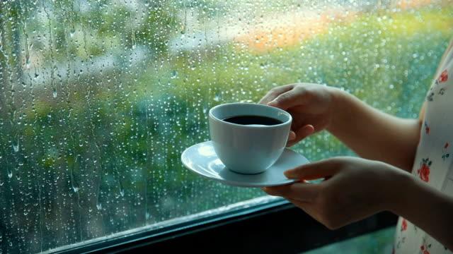 vídeos y material grabado en eventos de stock de tomando café en un día de lluvia - taza de té