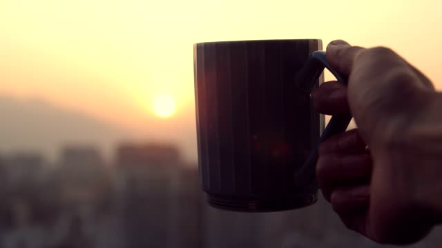 drinking coffee with sunset - caffeine molecule stock videos & royalty-free footage