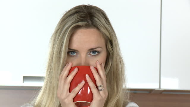 drinking from a red cup - front view stock videos & royalty-free footage