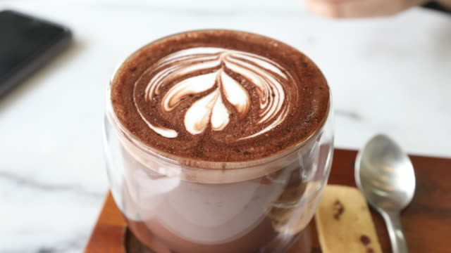 drinking latte art - froth art stock videos and b-roll footage