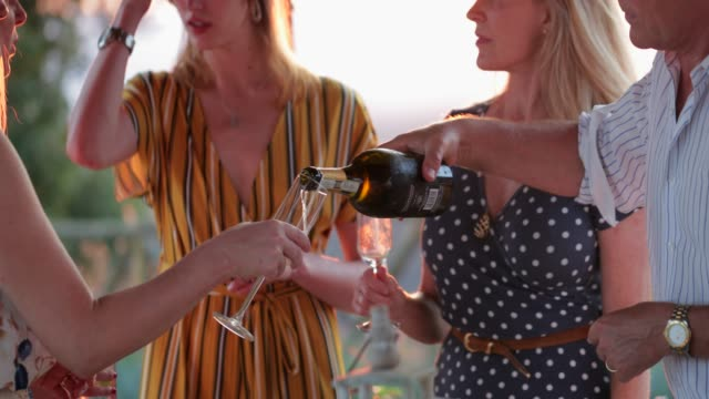drinking prosecco at sunset - tuscany stock videos & royalty-free footage