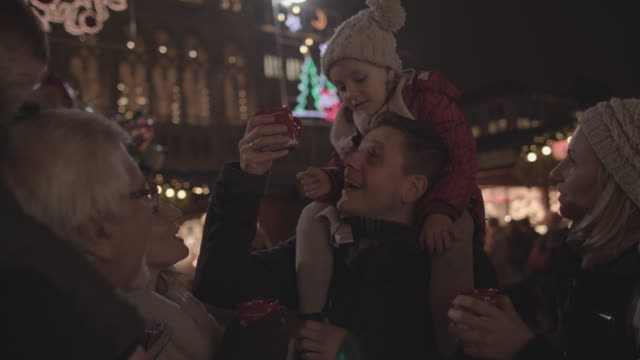 drinking punch on christmas market - government building stock videos & royalty-free footage