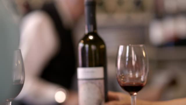 cu drinking red wine at the bar counter - tapas stock videos & royalty-free footage