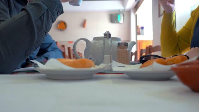 Drinking tea in the restaurant in 4K