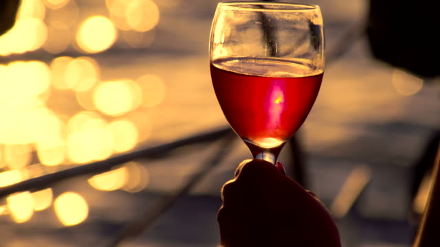 cu drinking wine while sailing at sunset - wine stock videos & royalty-free footage
