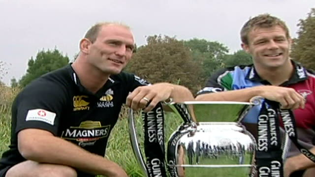 drinks companies remove logos from children's replica football shirts lib twickenham rugby union team members posing next guinness premiership cup... - captain stock videos and b-roll footage