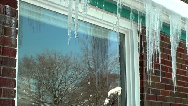 vídeos de stock, filmes e b-roll de escorrendo gelo (hd - pingente de gelo