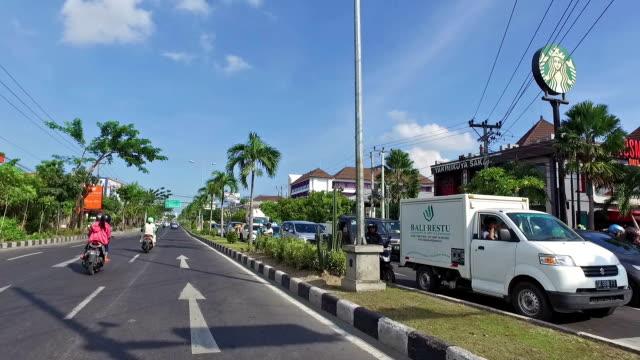 POV drive along Sunset avenue in Kuta in Bali