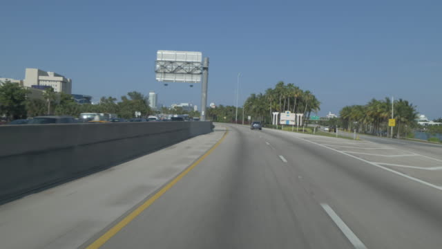 Drive from Miami International Airport on Florida State Highway 112 toward South Beach, Miami, Florida, United States of America, North America