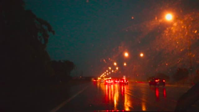 drive in rain and lightning - torrential rain stock videos and b-roll footage