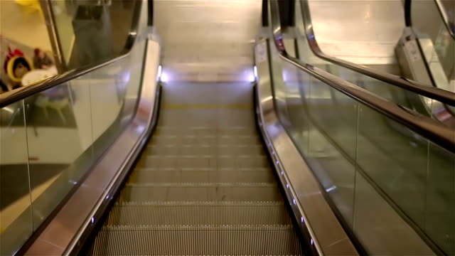 Drive on escalator,passenger's point of view