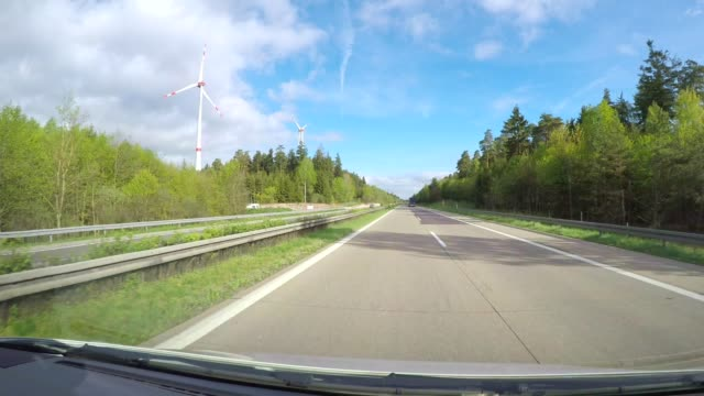 POV drive on highway A7 with wind turbines, Baden-Wurttemberg, Germany
