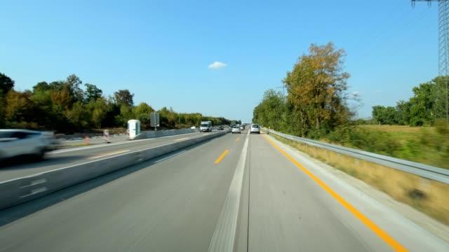 POV drive on highway, highway construction site, A5, in summer, Rastatt, Baden-Württemberg, Germany