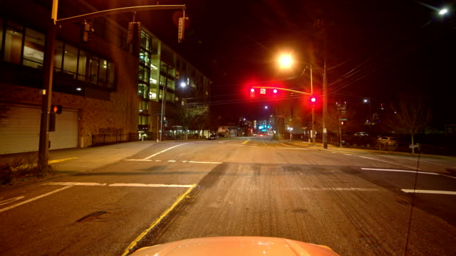 Drive to Downtown past Pioneer Square Portland Oregon Night Time Lapse