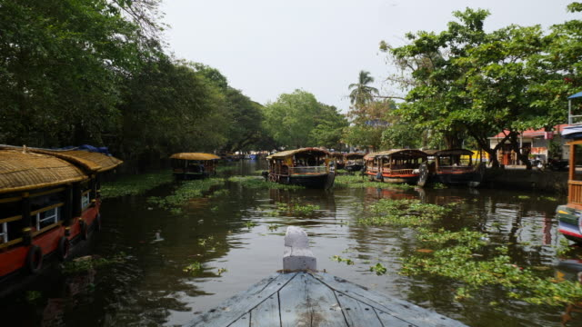 drive with ferry into alleppey canal - backwater stock videos & royalty-free footage