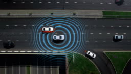 Driver activate smart car mode auto pilot, artificial intelligence, calculate digital engine cpu processor, work radar traffic sensors, digital vision on the road avoid obstacles and car detection